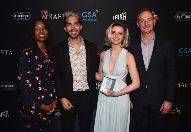 BAFTA LA Deputy Chair Kathryn Busby; Esteban Bravo & Beth David, winners of the BAFTA Student Award for Animation presented by LAIKA; BAFTA LA Board Chairman Kieran Breen; and James Granger, CEO of EMEA-GSA. [Photo: Alberto E. Rodriguez/Getty Images for BAFTA LA]
