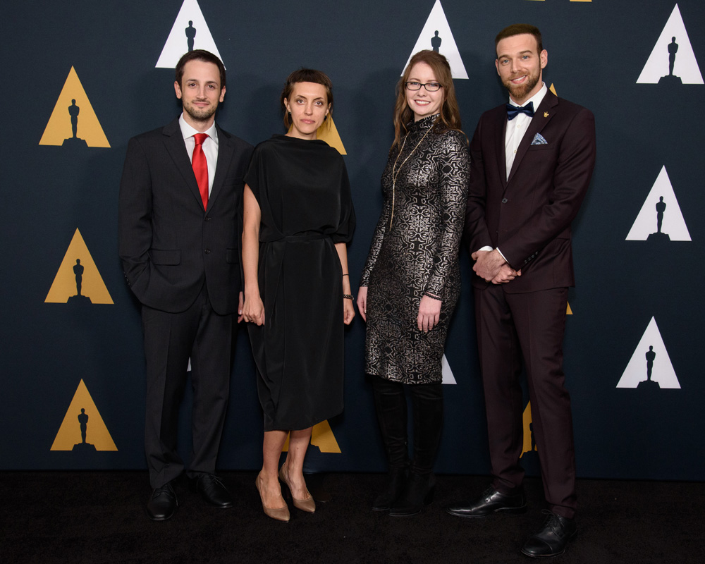 Animation film winners Emre Okten, Daria Kashcheeva, Kalee McCollaum and Aviv Mano prior to the 46th Annual Student Academy Awards on Thursday, October 17, in Beverly Hills. [Photo: Valerie Durant / © A.M.P.A.S.]