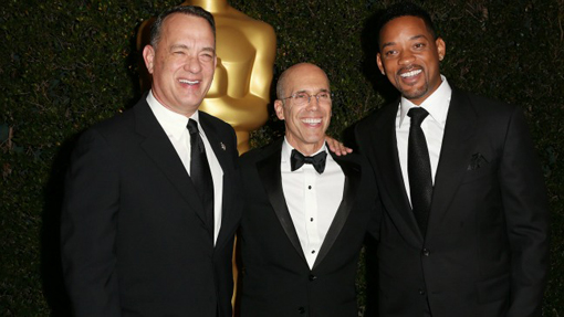 (from left) Tom Hanks, Jeffrey Katzenberg and Will Smith