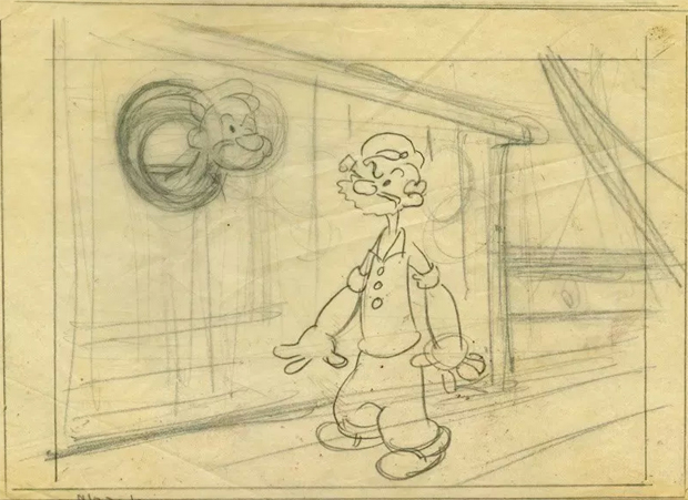 """Cel from Popeye on display at The Cartoon Art Museum's """"A Treasury of Animation"""""""