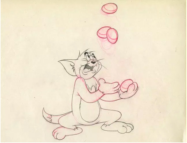 """Cel from Tom and Jerry on display at The Cartoon Art Museum's """"A Treasury of Animation"""""""