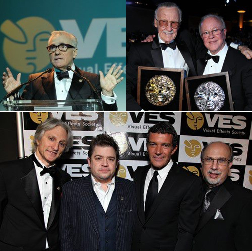 (top left) Martin Scorsese makes surprise appearance at the 10th Annual VES Awards, (top right) Stan Lee and Douglas Trumbull and (bottom) Jeffrey A. Okun, Patton Oswalt, Antonio Banderas and Eric Roth