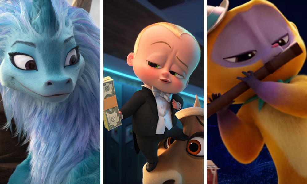 L-R: Raya and the Last Dragon, The Boss Baby: Family Business, Vivo