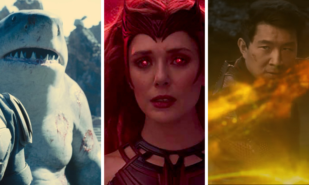 L-R: The Suicide Squad, WandaVision, Shang-Chi and the Legend of the Ten Rings