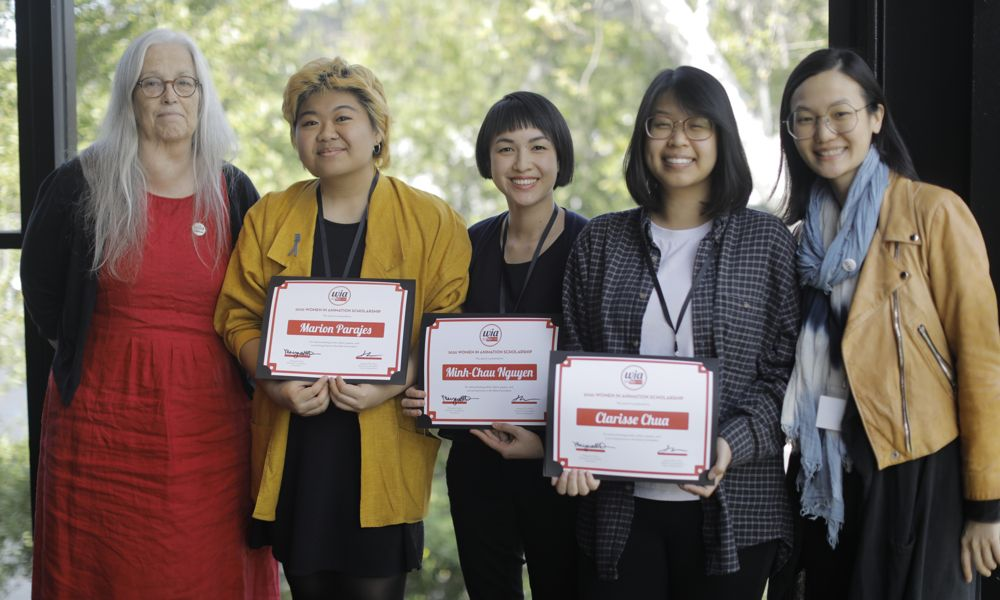 WIA President Marge Dean and Chair of Education Hsiang Chin Moe with L.A.-based scholarship recipients Marion Parajes, Minh-Chau Nguyen and Clarisse Chau, at BRIC 2020 Talent + Innovation Summit.