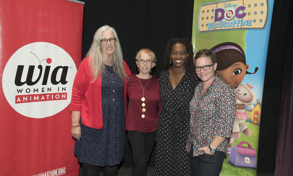 Marge Dean, Nancy Kanter, Mekeisha Madden Toby and Chris Nee at Disney Junior's season 5 premiere of Doc McStuffins in Burbank. (Disney Junior/Matt Petit) © 2018 Disney Enterprises, Inc.