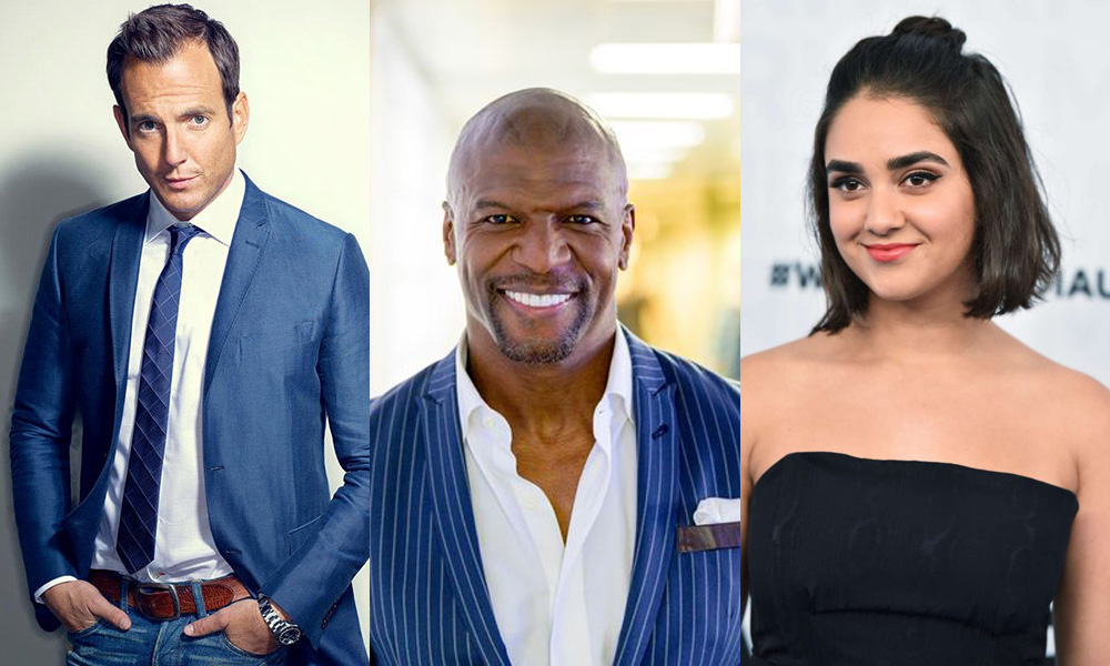 Will Arnett, Terry Crews, and Geraldine Viswanathan
