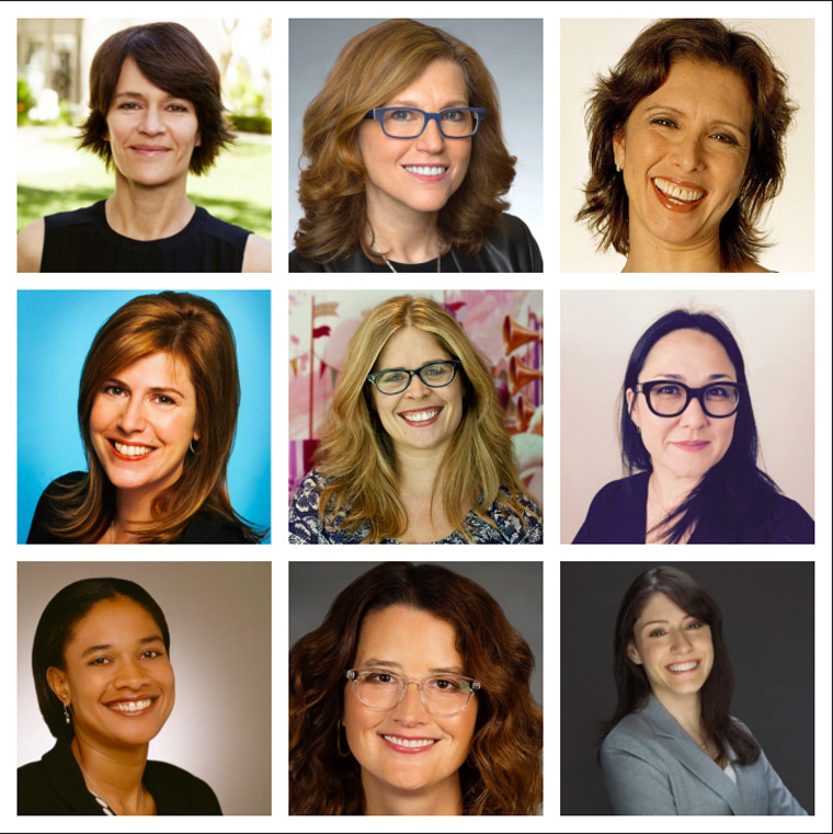 Top Row from Left: Kristine Belson (Sony), Margie Cohn (DreamWorks) and Mireille Soria (Paramount)Second Row from Left: Andrea Miloro (Co-President, Fox Animation), Jennifer Lee (CCO of Disney), Ramsey Naito (Nickelodeon Head of Animation), Bottom Row from Left: Vanessa Morisson (President of Fox Family), Audrey Diehl (Warner Bros. Animation) and Christina Miller (Cartoon Network).