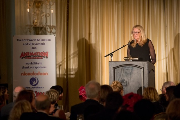 Summit founder and Animation Magazine publisher Jean Thoren addresses the awards gala