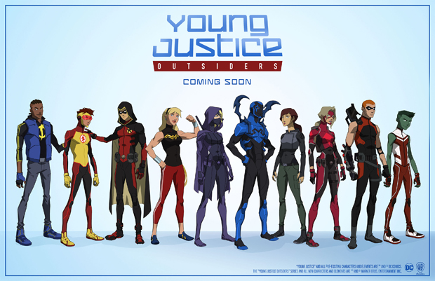 (Photo Caption/ID, from left to right: Static, Kid Flash, Robin, Wonder Girl, Spoiler, Blue Beetle, Thirteen, Arrowette, Arsenal and Beast Boy.)